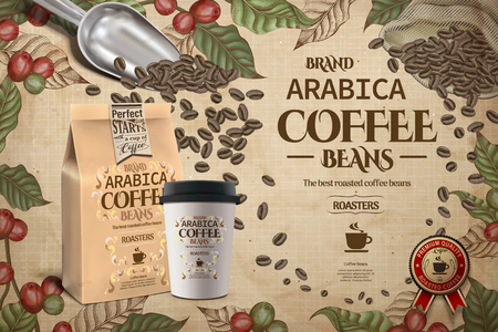 Arabica coffee beans template with coffee plants, a cup and packaging Vectores