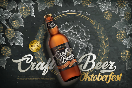 Craft beer template with a beer bottle with label on an engraved blackboard background Illustration