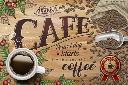 Cafe poster with black coffee top view, coffee cherries and beans background Ilustração