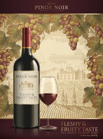 Red wine template with a field background and grapes frame
