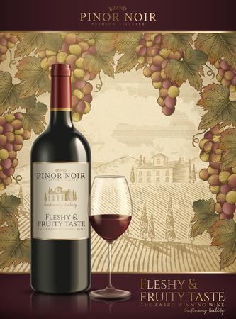 Rode wijn sjabloon met een veld achtergrond en druiven frame