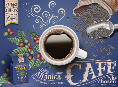 Cafe poster with black coffee top view, coffee cherries and beans in the background