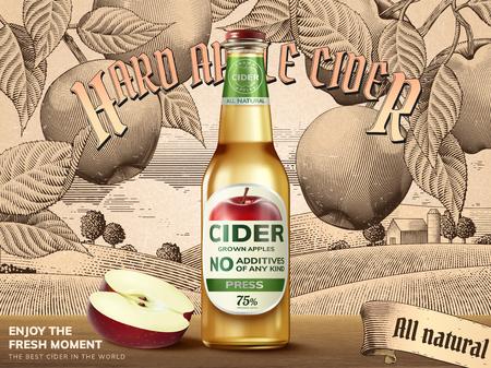 병 및 잘라 사과와 하드 사과 사과주 템플릿