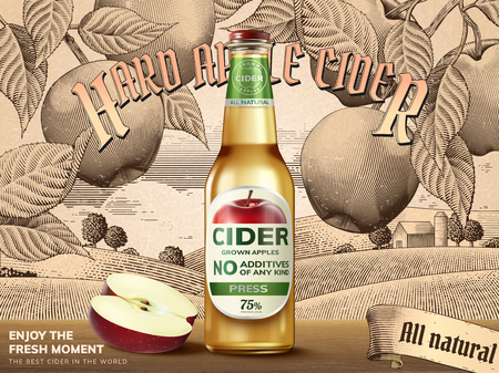 Hard apple cider template with a bottle and cut apple