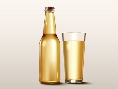 Beverage container mock-up with a glass and bottle without a label Ilustrace