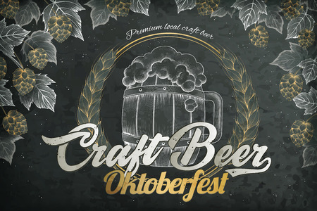 Craft beer poster with a beer barrel and hops elements for oktoberfest festival on a blackboard background