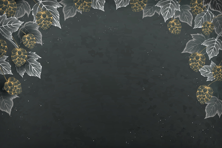 Decorative hops and leaves on a blackboard background Иллюстрация