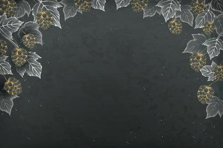 Decorative hops and leaves on a blackboard background Illustration