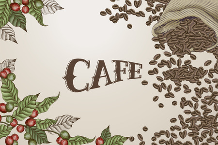 Cafe poster with coffee design elements of coffee beans in a jute bag and fresh coffee cherries and leaves