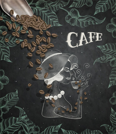 Cafe poster with a drinking lady illustration, leaves and coffee beans Stock Illustratie