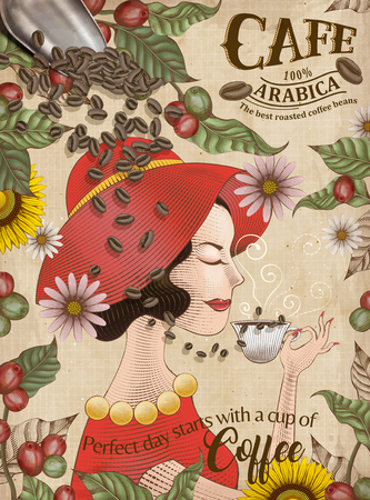 Cafe poster with lady drinking from a cup with coffee cherries and beans Vectores