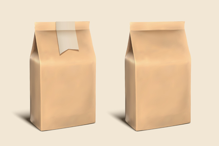 Brown blank paper bags template illustration Stockfoto - 98401098