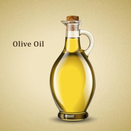Olive oil jar illustration on a cream color background
