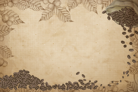 Coffee background design with coffee beans in a jute bag and coffee cherries and leaves