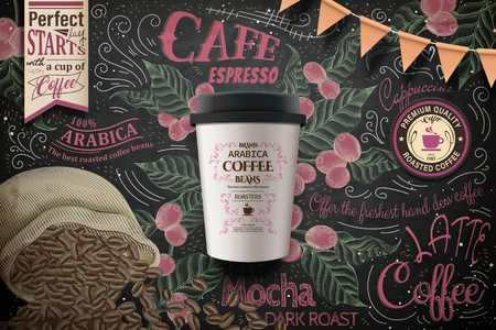 Cafe poster with a coffee cup, coffee cherries and beans in a sack