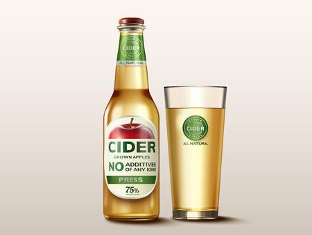 Illustration of apple cider mock-up beverage in a glass bottle with label Illustration
