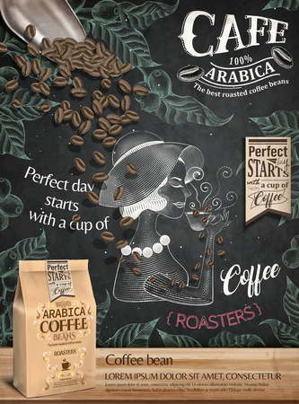 Cafe poster with a woman drinking illustration, a package and beans