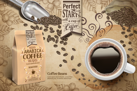 Coffee poster with black coffee top view and coffee beans Çizim