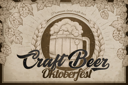 Craft beer poster with a beer barrel and hops elements 일러스트