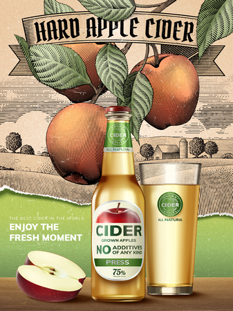 Hard apple cider poster with apples, a bottle and glass