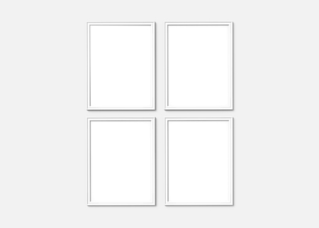 White picture frame, 3d render thin frames set with empty space for decorative uses