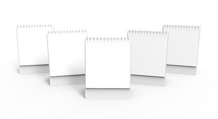 Blank desk calendar, 3d render calendar mockup with empty space for design uses, tall design set Banco de Imagens