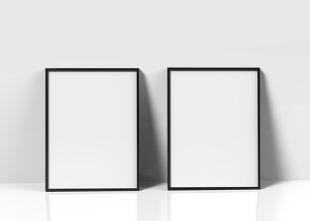 Black picture frames, 3d render thin frames set with empty space for decorative uses, leaning on wall