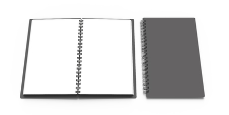 Spiral notebook in 3d render, open notebooks set with empty space for design uses