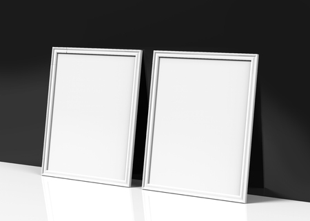 White picture frame, 3d render thin frames with empty space for decorative uses, leaning on black wall