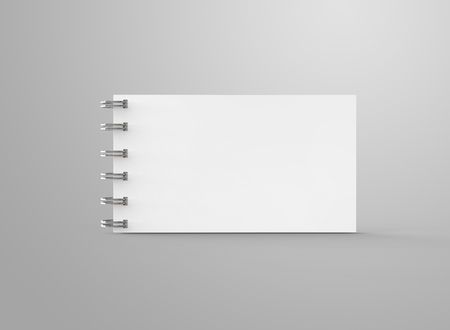 Spiral notebook in 3d render, open notebook with empty space for design uses