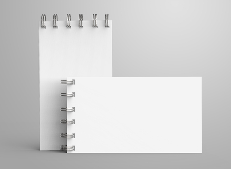 Spiral notebook in 3d render, open notebook set with empty space for design uses 스톡 콘텐츠