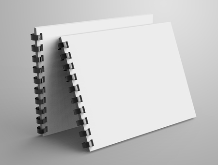 Spiral notebook in 3d render, open notebook set with empty space for design uses Stock Photo