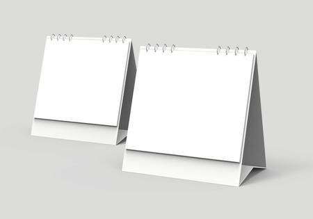 ブランクデスクカレンダー、デザイン用の空きスペースを持つ3Dレンダーカレンダーモックアップ、正方形デザインセット 写真素材