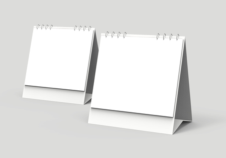 Blank desk calendar, 3d render calendar mockup with empty space for design uses, square design set