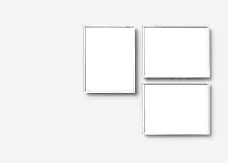 White picture frames, 3d render thin frames set with empty space for decorative uses Banco de Imagens