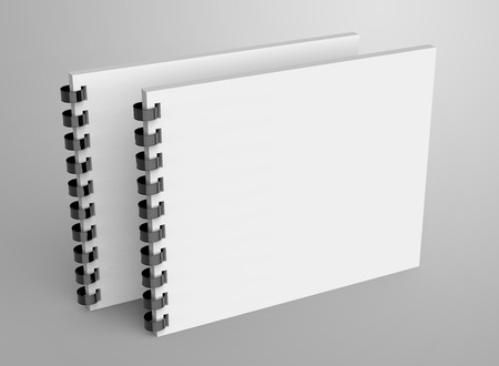 Spiral notebook in 3d render, open notebook set with empty space for design uses 写真素材