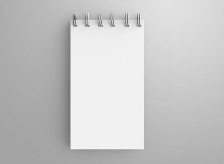 Spiral notebook in 3d render, open notebook with empty space for design uses, top view