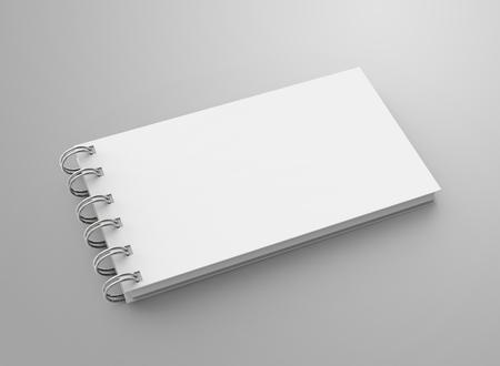 3d 렌더링에 나선형 노트북, 디자인에 대 한 빈 공간을 가진 열린 노트북