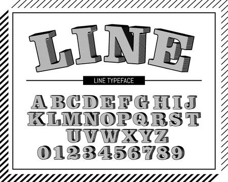 Stripe line typeface, retro alphabet and number set for design uses 向量圖像