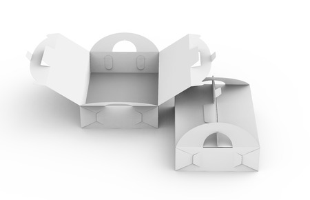 Blank paper box with handle, gift or food carton package set in 3d render for design uses in elevated view