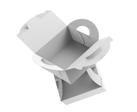 White box with handle, gift or food carton package set in 3d render for design uses, float boxes 写真素材