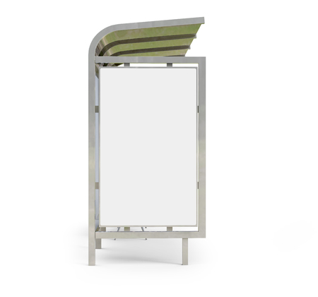 3D render bus shelter, blank copy space for advertising or promotional content, bus station billboard in side view