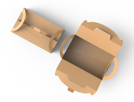 Kraft boxes with handle, open gift or food carton package in 3d render for design uses, top view Banco de Imagens