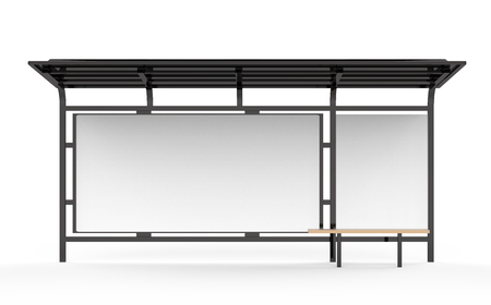 3D render bus shelter, blank copy space for advertising or promotional content, bus station billboard in black