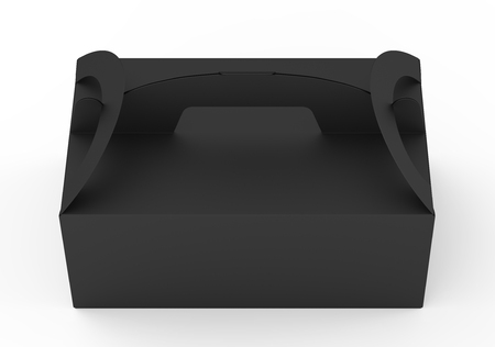 Isolated black carton box with handle in 3d illustration on white background, elevated view