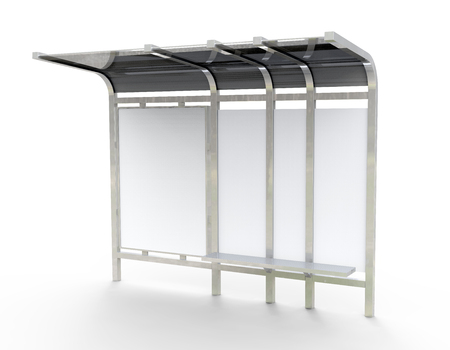 3D render bus shelter, blank copy space for advertising or promotional content, bus station billboard in silver Zdjęcie Seryjne