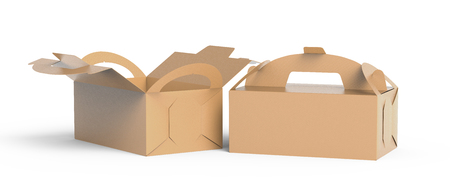 Kraft box with handle, gift or food carton package set in 3d render for design uses