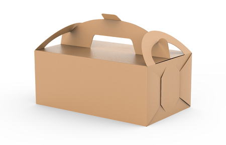 Kraft box with handle, gift or food carton package in 3d render for design uses Banco de Imagens
