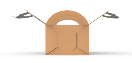 Kraft box with handle, gift or food carton package in 3d render for design uses, side view