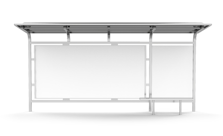3D render bus shelter, blank copy space for advertising or promotional content, bus station billboard Zdjęcie Seryjne